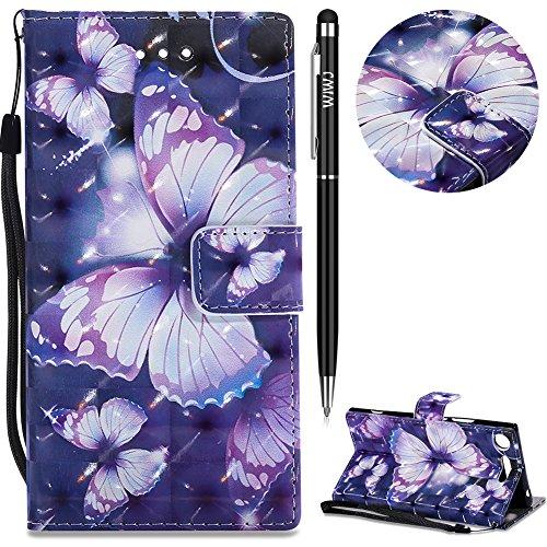 Sony Xperia XZ1 Hülle,Xperia XZ1 Leather Handyhülle,WIWJ Wallet Case[3D-Lackleder-Etui]Schutzhüllen für Sony Xperia XZ1-Lila Schmetterling