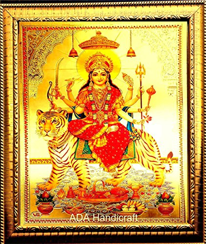 ADA Handicraft Durga Maa Photo Frame for Wall and Pooja/Poster for Pooja/Religious Framed Painting for Worship (35 x 25) cm