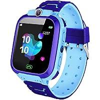 NaiCasy Enfants Montre Téléphone Bracelet Enfant Bleu SOS Appel Caméra SIM étanche Compatible avec iOS Anroid