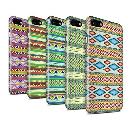 STUFF4 Glanz Snap-On Hülle / Case für Apple iPhone 8 / Grün/Rot Muster / Aztekische Stammes Muster Kollektion Pack 5pcs