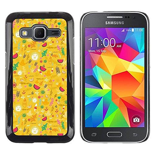 DEMAND-GO Handy Durabel Hart Schutz Hülle Einzig Bild Schale Cover Etui Case Für Samsung Galaxy Core Prime SM-G360 - gelb glücklich optimistisch Muster