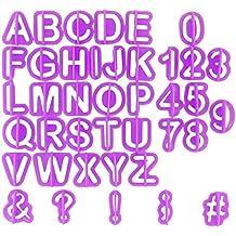 Chefarone fondant letras - Set de cortadores alfanuméricos -Juego de letras y números diseño de - 40 piezas (morado)