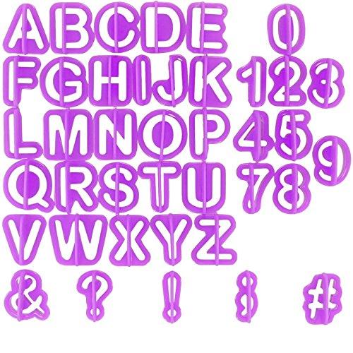 Chefarone Buchstaben Ausstecher Set 40-teilig - Inklusive Zahlen und Sonderzeichen - Fondant Torten Alphabet