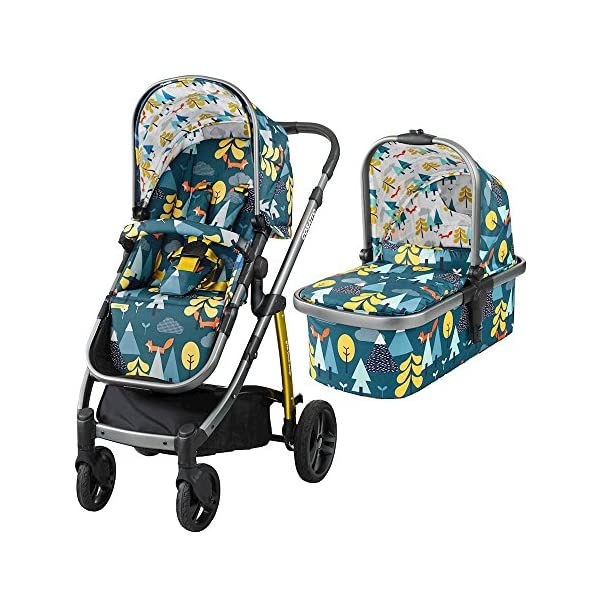 Cosatto Wow Pram and Pushchair, from Birth Carrycot and Pushchair Suitable upto 25 kg, Fox Tale Cosatto Backed by science, Cosatto prams are ideal for your baby; the patterns in Cosatto hoods are designed to stimulate your baby with bright, eye-catching colour and storytelling pattern Includes the from-birth carrycot (suitable for occasional overnight sleeping), then swap to pushchair unit, suitable up to 25 kg, with parent and world facing options and four recline positions Easy one-handed features, push-button carrycot removal, seat recline and calf support 1