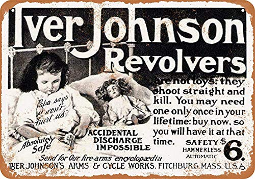 Yilooom 1904 Iver Johnson Revolvers - Vintage Metal Sign Novelty Wall Plaque Wall Art Decor Accessories Gifts 8 X 12 Inches -