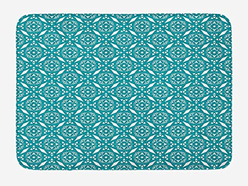 ASKYE Persian Bath Mat, Ethnic Moroccan Geometrical Style Illustration with Oriental Floral Swirl Details, Plush Bathroom Decor Mat with Non Slip Backing, 23.6 W X 15.7 W Inches, Teal White White Swirl Glass Bowl
