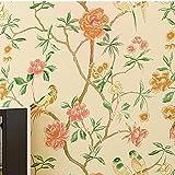 AIEK Tapete Vlies tapete Blumen Baum mit Vögel Vintage Stil 53 * 1000cm Wandtapete 6061, Yellow