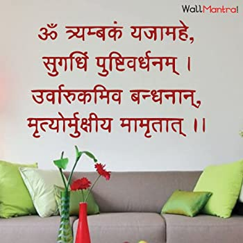 WallMantra Mahamritunjay Mantra Wall Decal Wall Sticker : Medium(24x15 inches)