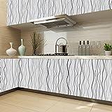 KINLO® 1 Rollo Papel Pintado para Muebles del Cocina/Baño, PVC Pegatina de Cocina Auto-adhesivo, 0.61 * 5M/ Rollo, Gris