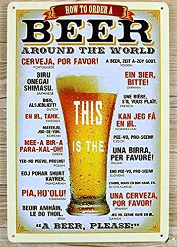 """Póster de la barra DWE de metal frío vintage personalizado de cerveza publicitaria con texto en inglés """"Plauqe Wall Decor Retro Bar Pub"""""""