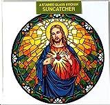 Sacred Heart of Jesus Fenster Aufkleber–Sun Catcher Tiffany Stil Fenster Aufkleber