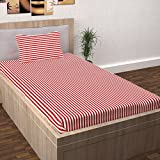 Story@Home Single Bedsheet for Single Bed with 1 Pillow Cover Combo Set - 100% Cotton - Spark Series, 208 TC, Stripes (Red - White)