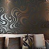 Hanmero Moderne, minimalistische, abstrakte 3D-Vliestapete mit Kurven und Glitzer für Schlafzimmer, Wohnzimmer oder als Hintergrund für Ihren Fernseher, braun