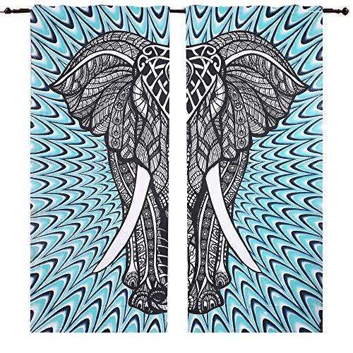 janki creation Big Elefant Doona Vorhang mit 2Kammern, 82x 82cm, Vorhang Gardinen Vorhang mit Balkon Boho Ethno-Therapie-Panels Set Hippie Tapestry Tür Vorhang, Fenster Vorhang