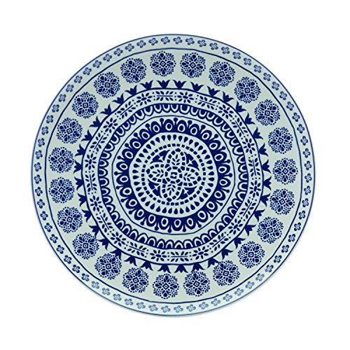 Fitz & Floyd IG31036 Blue Antico Round Platter-14 Serving Platter, White/Blue Floyd Serveware