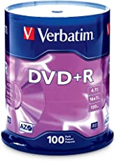 Verbatim 4.7GB up to 16x Branded Recordable Disc DVD+R 100-Disc Spindle FFP 97459