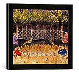 Gerahmtes Bild von Pariser Werkstatt Buchmalerei 'Hasenjagd m. Netzen / Livre de la Chasse', Kunstdruck im hochwertigen handgefertigten Bilder-Rahmen, 40x30 cm, Schwarz matt