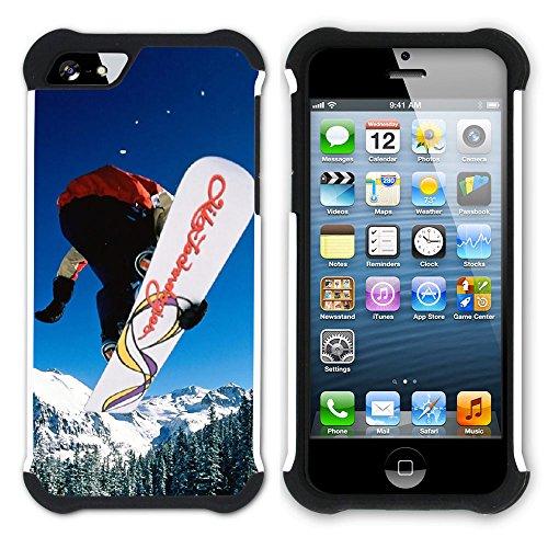 Graphic4You Snowboard Wintersport Schnee Berg Hart + Weiche Kratzfeste Hülle Case Schale Tasche Schutzhülle für Apple iPhone SE / 5 / 5S Design #14