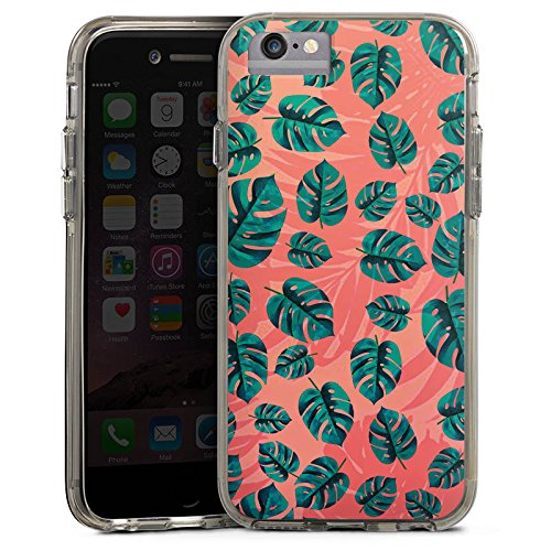 Apple iPhone 6s Bumper Hülle Bumper Case Glitzer Hülle Leaves Blaetter Dschungel Bumper Case transparent grau