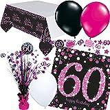 Neu: 33 pièces Kit de décoration de Table pour Anniversaire 60 Ans avec Nappe et confettis + Serviettes de Table + décoration de fête