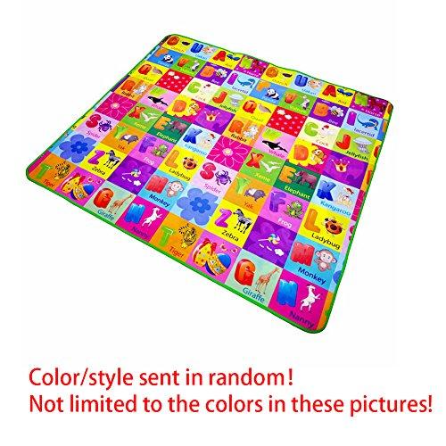 Baby Play Mat, Bebé jugando frutas cartas granja gatear alfombra–niños doble cara plegable alfombra manta niños juguete, 1,2* 1,8M/1,5* 1,8M/2* 1,8M para elección, color al azar Talla:1.2x1.8m