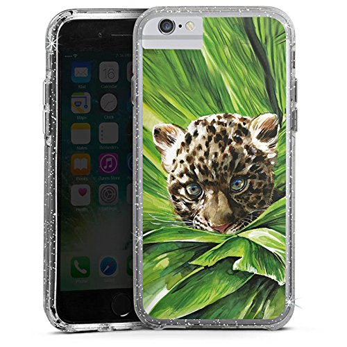 Apple iPhone 6 Bumper Hülle Bumper Case Glitzer Hülle Leoparden Baby Dschungel Raubtier Bumper Case Glitzer silber