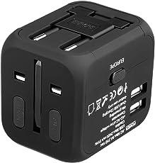 Floureon Reiseadapter universal Power Adapter mit Dual USB für US UK EU Asien Schwarz