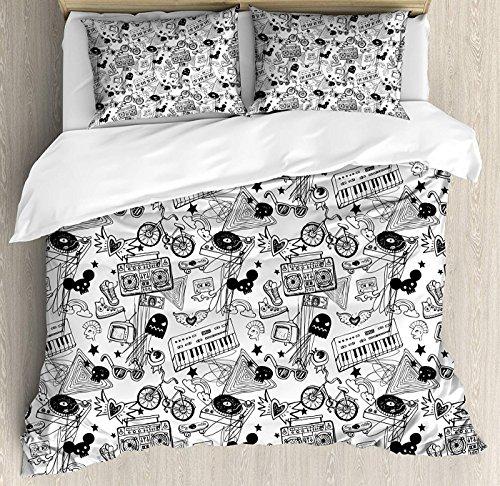 weiß Bettbezug-Set, King Size, Punk Teenage Muster Kassette Tastatur Ghost Herz und Boombox Doodle Blumenmuster Bettbezug und Kissenbezüge Bettwäsche-Set, schwarz weiß Full Multi 1 ()
