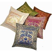 India Zari - Fundas de seda para cojines bordadas a mano de flores, 40,64 x 40,64cm, multicolor