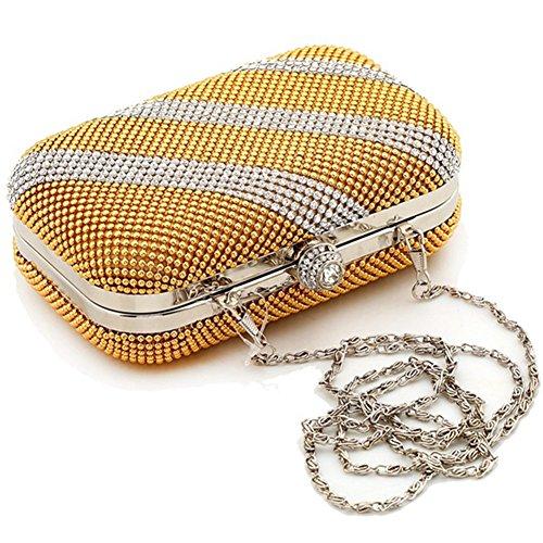 ERGEOB® Donna Clutch sacchetto di sera borsetta sacchetto di spalla Clutch colorato Pailletten piccola Donna Clutch taschino oro