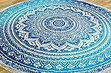 Guru-Shop Rundes Indisches Mandala Tuch, Tagesdecke, Picknickdecke, Stranddecke, Tischdecke - Blau, Baumwolle, Bettüberwurf, Sofa Überwurf