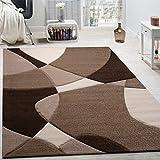 Tappeto Di Design Moderno Motivo Geometrico Taglio Sagomato Marrone Crema Beige, Dimensione:120x170 cm