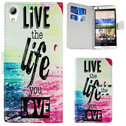 HTC Desire 626 / 626G KUNST-LEDER - LIVE THE LIFE Silikon Schutz-Hülle weiche Tasche Cover Case Bumper Etui Flip smartphone handy backcover Schutzhülle Handyhülle thematys®