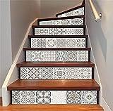 LT&DM Treppenaufkleber 3D Renoviert DIY Bodenabziehbilder Herausnehmbar Wasserdicht Selbstklebend Arabischer Stil Keramikfliese Muster Persönlichkeit Wandtattoo Zuhause Dekoration