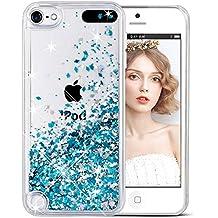 Funda iPod Touch 5/6th, Wuloo Liquid Glitter Funda Bling Lindo de la Chispa Flotante Caso Transparente Líquido Duro Brillante Cover para iPod Touch 5 Touch 6