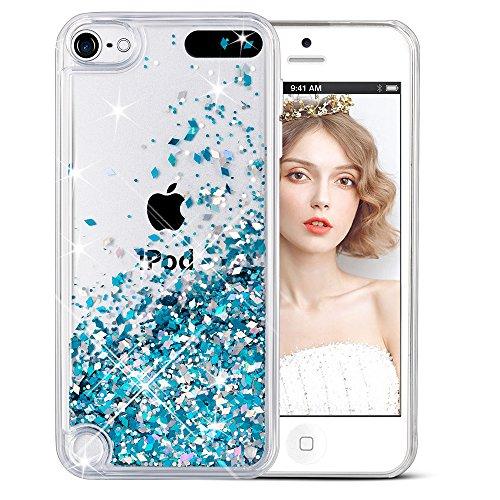 iPod Touch 6 Hülle, iPod Touch 5 Hülle, iPod Touch 5/6th Hülle, Wuloo Glitzer Flüssigkeit Schutzhülle Cute Clear Wasser Fließende Funkeln Bling Case Shiny Transparent Hard Cover für iPod Touch 5/6th (Blau) (Ipod-blau)