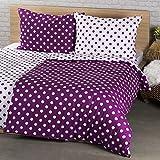 4Home Baumwolle Bettwäsche Lila Punkt, Purple/Weiß, 220 x 140 cm, 2-Einheiten