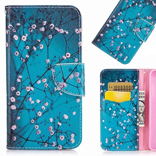 LEMORRY Sony Xperia XA1 Etui Gaufré Cuir Flip Portefeuille Pochette Mince Bumper Protecteur Magnétique Fente Carte Silicone TPU Housse Cover Coque pour Sony Xperia XA1 (G3121 / G3112), Fleur de Cerisier