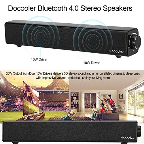614KDHto97L - Docooler Altavoz Bluetooth 4.0 Barra de Sonido 20W 10W Dual Drivers Deep Bass AUX-IN de Reproducción de Música 4400mAh Incorporado Negro Batería para TV PC Tablets Teléfonos Inteligentes