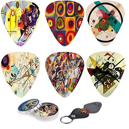 abstrakte Kunst coole Gitarrenplektren - wassily kandinsky Malereien. 12 mittlere Celluloid-Gitarren-Picks in einer Box w / Picks Halter. einzigartiges Gitarrengeschenk für Bass-, Elektro- und - Gitarre Strumpf