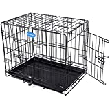 Songmics Dog Puppy Cage 24'' (S) Foldable Metal Pet Carrier 2 Doors with Tray PPD24W