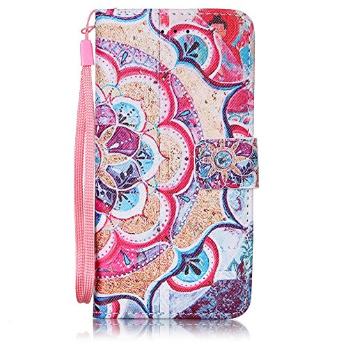 Etsue Coque en cuir pour iPhone 5/5S,iPhone SE,Mode Folio Portefeuille Pattern Housse de téléphone avec Corde pour iPhone 5/5S,iPhone SE,Coloré Retro Flip Book Style Motif Leather Wallet Case Cover av Datura stramonium