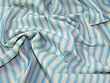Inlett Streifen gewebt Baumwolle Möbelstoff, Meterware, Türkis