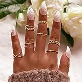 Aukmla Boho Knuckle Rings Set Anelli di barretta impilabili in oro Midi Knuckle Rings Midi Accessori per le mani per donne e