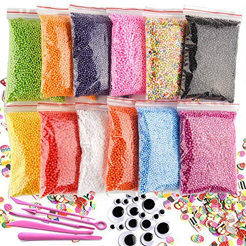 Kuuqa 12 Packs Slime Balls Ensemble De Mousse Craft Mousse Perles Micro Boules De Polystyrène Styrofoam Avec Outils Slime Et Fruit Slime Mini Crafts Accessoires Fit (Ne Contient Pas De Boue)