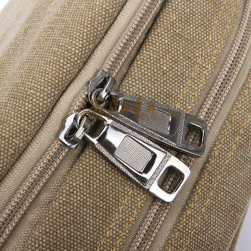 Tonwhar ® Canvas-Schultertasche, Messenger Bag, Aktentasche mit vielen Taschen Grün - Khaki