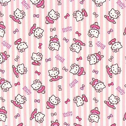 Fabulous Fabrics Baumwollstoff Hello Kitty Ballett - rosa - Meterware ab 0,5m - zum Nähen von Kinder, Taschen und Vorhänge