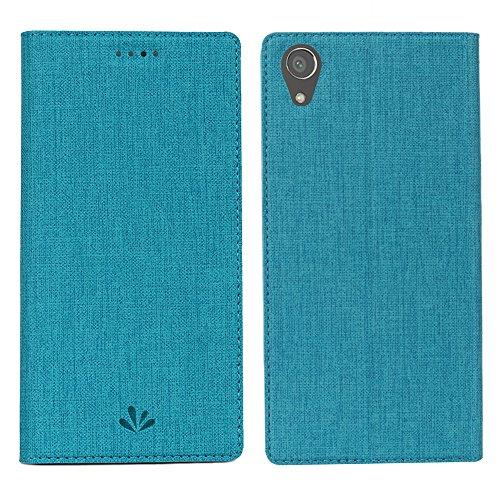 Sony Xperia XA1 Plus Hülle,Eactcoo Dünn Premium PU Leder klappbares Folio Flip Case Book TPU Cover Bumper Tasche Mit Standfunktion Magnetverschluss Kartenfach Wallet Handyhülle (XA1 Plus, Blue)