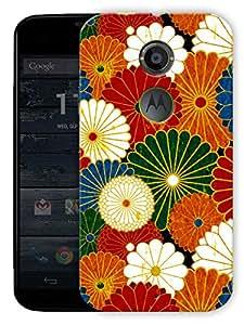 "Humor Gang Colorful Flower Pattern Printed Designer Mobile Back Cover For ""Motorola Moto X2"" (3D, Matte Finish, Premium Quality, Protective Snap On Slim Hard Phone Case, Multi Color)"