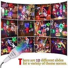 Idea Regalo - Proiettore Luci Natale, InnooLight Proiettore Lampada per Decorazioni Natalizie per la Casa la Camera da Letto per le Feste di Compleanno e Capodanno, 12 Pattern Colorati Auto Rotanti Proiettore